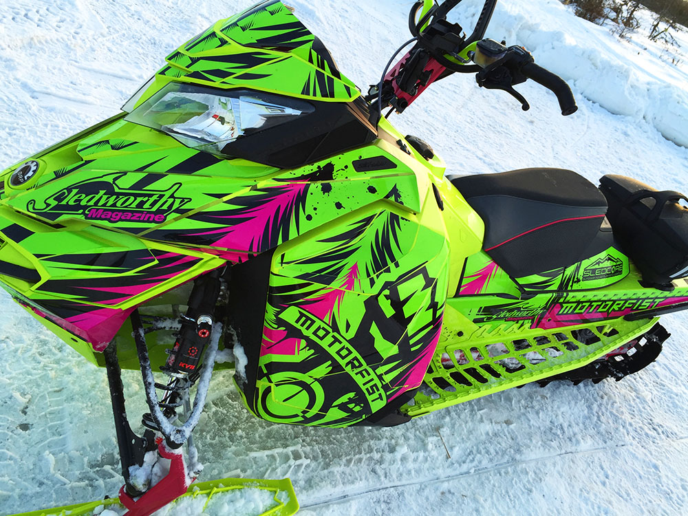 """Motorfist Magneto"" sled wrap for a Ski-Doo XM-XS snowmobile designed by ArcticFX Graphics LLC - www.arcticfxgraphics.com"