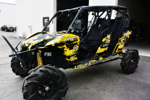Custom Shred side by side graphics kit for a Can-Am Maverick UTV designed by UTVFX Graphics - www.utvfxgraphics.com