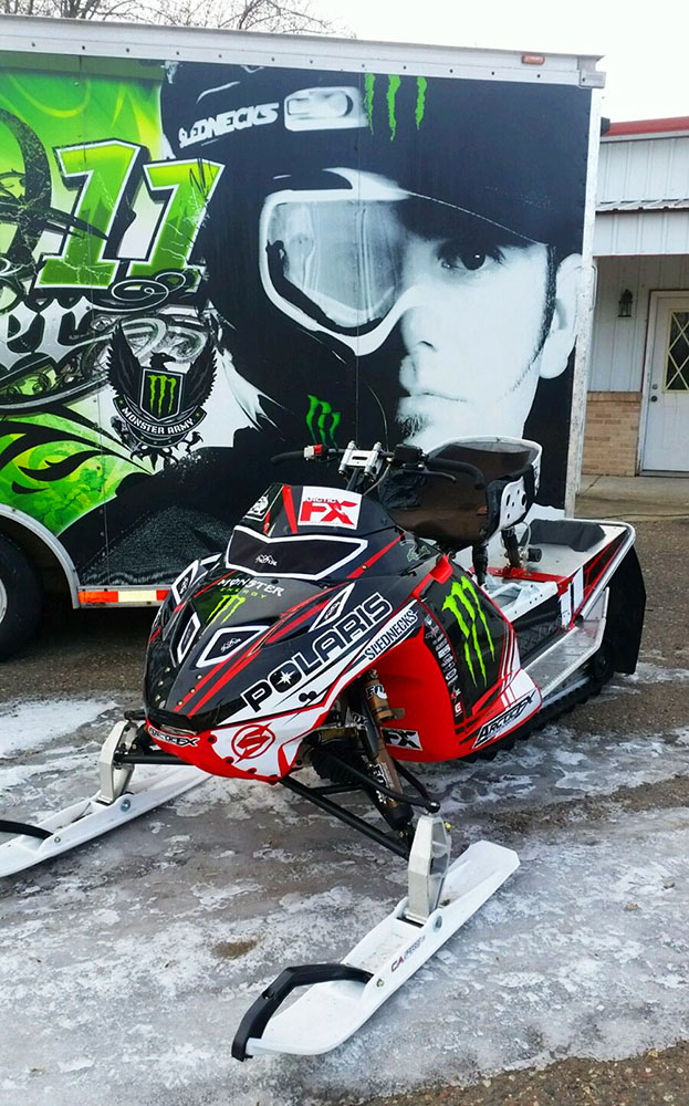 Pual Thacker custom x-games sled wrap for a Polaris IQ Racer snowmobile designed by ArcticFX Graphics LLC - www.arcticfxgraphics.com