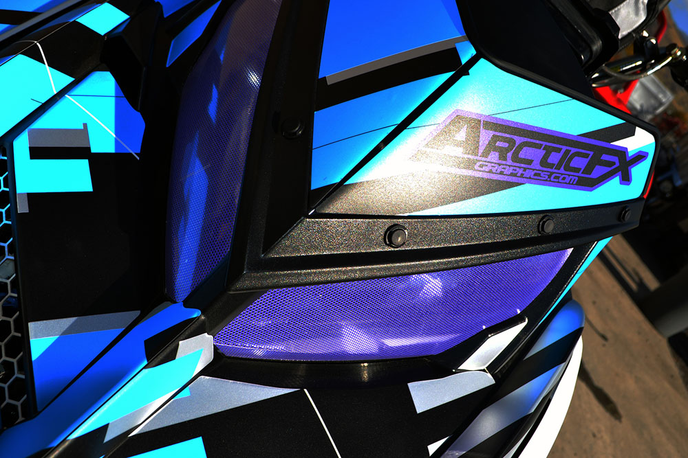 """Arc Reactor"" sled wrap for a Polaris Pro RMK snowmobile designed by ArcticFX Graphics LLC - www.arcticfxgraphics.com"